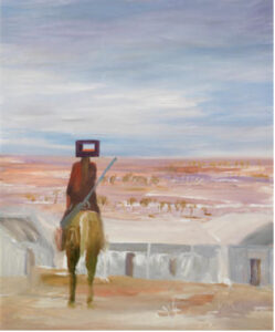 Lot 9, Sidney Nolan, Ned Kelly, 1966, est. $120,000-180,000. Stands and Delivers