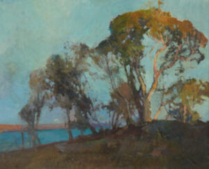 Lot 30 - Sydney Long, Evening Glow, Georges River, c1940, est. $9,000-12,000. Splendor in the Grass