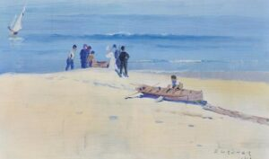 Fisherman, Coogee Beach, by Elioth Gruner achieved $164,700 at Sotheby's on May 3