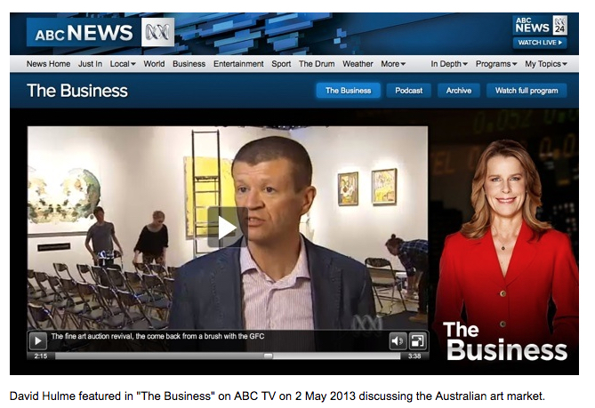 Art valuer and consultant David Hulme interviewed on ABC TV News