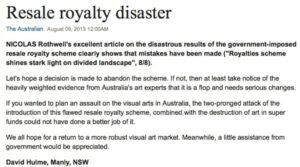 David Hulme in the Australian on the Resale Royalty Scheme