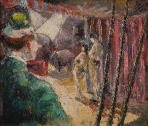 Lot 60, John Molvig, The Circus, 1948, est. $2,000-4,000. Clowning around