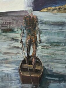Lot 17, Euan MacLeod, Large Boatman, 2006, est. $15,000-25,000. Worth paying for this Ferryman