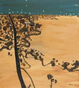 Lot 51 - John Olsen, Mallee Road to Nhill, 1981, est. $100,000-$140,000.  A Road to Somewhere
