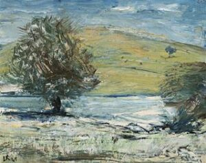 Lot 13, Lloyd Rees, River Landscape with Bald Mountain, 1949, est $6,000-9,000. Bold and brash for little cash