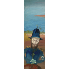 Lot 73, Sidney Nolan, The Pursuit 1955, est. $60,000-80,000. Time to call in the Feds