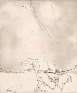 Lot 126 - John Olsen, Frog in the Rain, 1975, est. $4,000-6,000. It's not raining on his parade